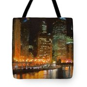 Chicago At Night Tote Bag by Jeff Kolker
