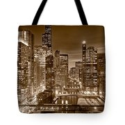 Chicago River City View B And W Tote Bag by Steve gadomski