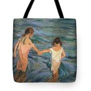 Children In The Sea Tote Bag by Joaquin Sorolla y Bastida