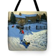 Children Sledging Tote Bag by Andrew Macara