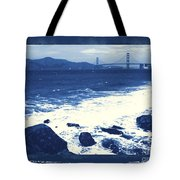 China Beach And Golden Gate Bridge With Blue Tones Tote Bag by Carol Groenen