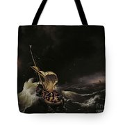 Christ in the Storm on the Sea of Galilee Tote Bag by Ludolph Backhuysen