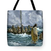 Christ walking on the Sea of Galilee Tote Bag by Anonymous