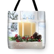 Christmas Candles Display Tote Bag by Amanda And Christopher Elwell