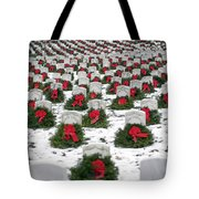 Christmas Wreaths Adorn Headstones Tote Bag by Stocktrek Images