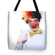 Circus Clown With Thumb Up To Carnival Advertising Tote Bag by Jorgo Photography - Wall Art Gallery