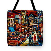 City At Night Downtown Montreal Tote Bag by Carole Spandau
