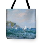 Cliffs And Sailboats At Pourville  Tote Bag by Claude Monet