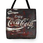 Coca Cola Grunge Sign Tote Bag by John Stephens