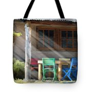 Colorful Chairs Tote Bag by Sharon Foster