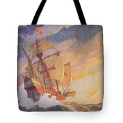 Columbus Crossing The Atlantic Tote Bag by Newell Convers Wyeth