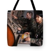 Control Technicians Use Radarscopes Tote Bag by Stocktrek Images