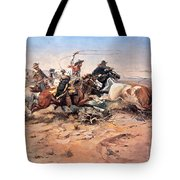 Cowboys Roping A Steer Tote Bag by Charles Marion Russell