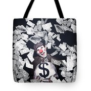 Crazy Clown Excited To Hold A Bag Of Money Tote Bag by Jorgo Photography - Wall Art Gallery