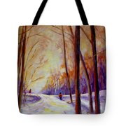 Cross Country Sking St. Agathe Quebec Tote Bag by Carole Spandau