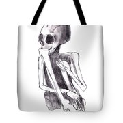 Crouched Skeleton Tote Bag by Michal Boubin