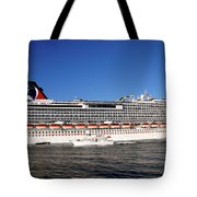 Cruise Ship Is Leaving The Port Tote Bag by Susanne Van Hulst