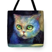 Curious Kitten Watercolor Painting  Tote Bag by Svetlana Novikova