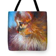 Curious Tubby Kitten Painting Tote Bag by Svetlana Novikova