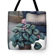 Cyclamen and Wicker Tote Bag by Michelle Calkins