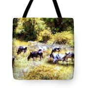 Dairy Cows In A Summer Pasture Tote Bag by Janine Riley