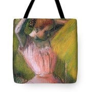 Dancer Arranging Her Hair Tote Bag by Edgar Degas