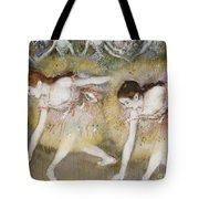 Dancers Bending Down Tote Bag by Edgar Degas