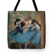 Dancers In Blue Tote Bag by Edgar Degas