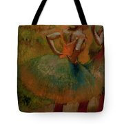 Dancers Wearing Green Skirts Tote Bag by Edgar Degas