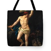 David Victorious Tote Bag by Jean Jacques II Lagrenee