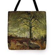 Deer In A Wood Tote Bag by Joseph Adam
