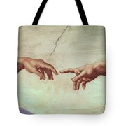 Detail From The Creation Of Adam Tote Bag by Michelangelo