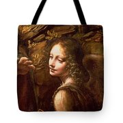 Detail of the Angel from The Virgin of the Rocks  Tote Bag by Leonardo Da Vinci