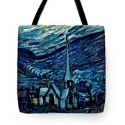Detail Of The Starry Night Tote Bag by Vincent Van Gogh