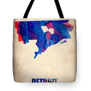 Detroit Watercolor Map Tote Bag by Naxart Studio