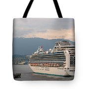 Diamond Princess Leaving Vancouver British Columbia Canada Tote Bag by Christine Till