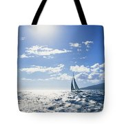 Distant View Of Sailboat Tote Bag by Ron Dahlquist - Printscapes