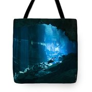 Diver Enters The Cavern System N Tote Bag by Karen Doody
