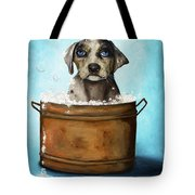 Dog N Suds Tote Bag by Leah Saulnier The Painting Maniac
