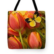 Dogface Butterfly And Tulips Tote Bag by Garry Gay