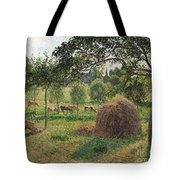 Dusk at Eragny Tote Bag by Camille Pissarro