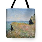 Edge Of The Cliff Pourville Tote Bag by Claude Monet