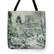 Effect of Snow with Cows at Montfoucault Tote Bag by Camille Pissarro