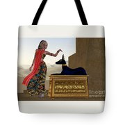 Egyptian Woman And Anubis Statue Tote Bag by Corey Ford