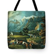 Emigrants Crossing The Plains Tote Bag by Currier and Ives
