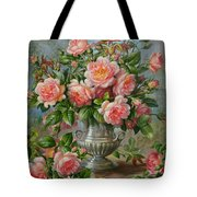 English Elegance Roses In A Silver Vase Tote Bag by Albert Williams