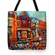 Fairmount Bagel With Hockey Tote Bag by Carole Spandau