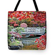 Fall Bridge in Manito Park Tote Bag by Carol Groenen