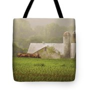 Farm - Farmer - Amish Farming Tote Bag by Mike Savad