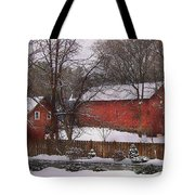Farm - Barn - Winter In The Country  Tote Bag by Mike Savad
